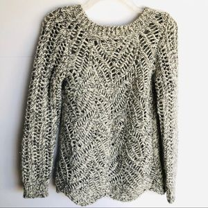 Ann Taylor Loft Grey and White Open Weave Sweater